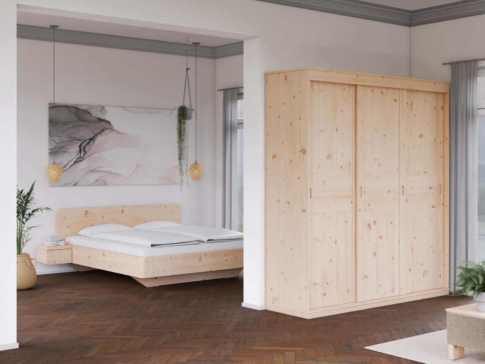 """Zirbenschlafzimmer mit Zirbenschrank """"Dietmar"""" 3-türig, Höhe 235 cm"""