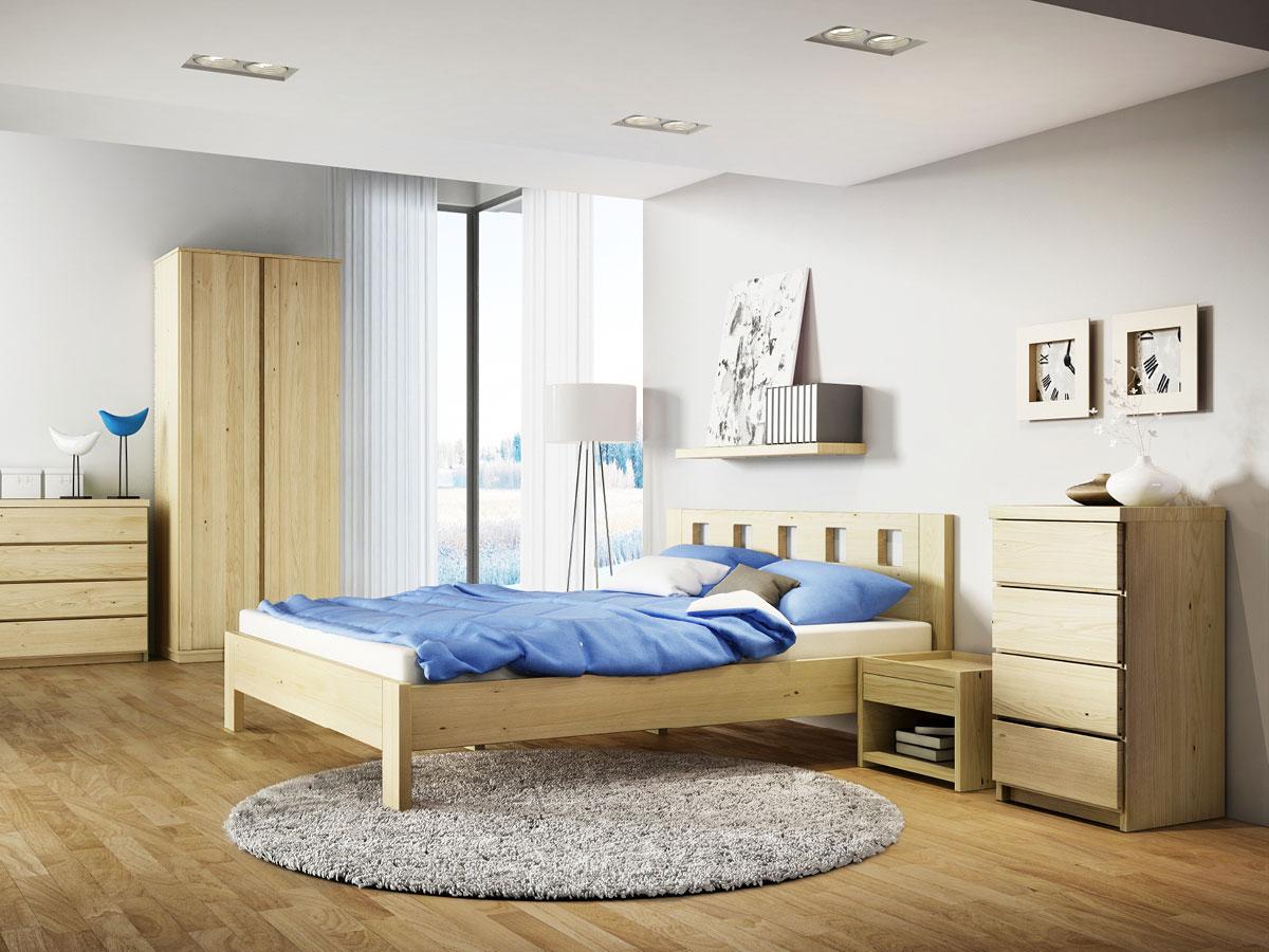 """Schlafzimmer mit Nachttisch aus Kastanie """"Johann"""" in Standardhöhe"""