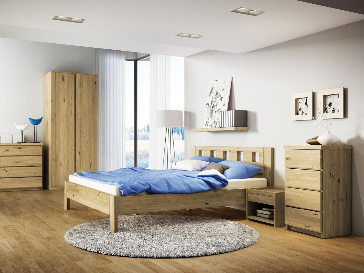 """Schlafzimmer mit Nachttisch aus Wildeiche """"Johann"""""""