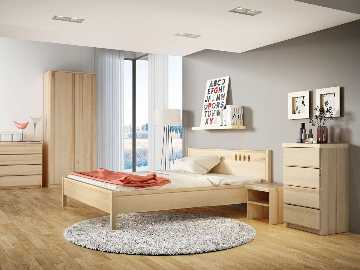 """Schlafzimmer mit Nachttisch in Esche """"Alfred"""" in Standardhöhe"""