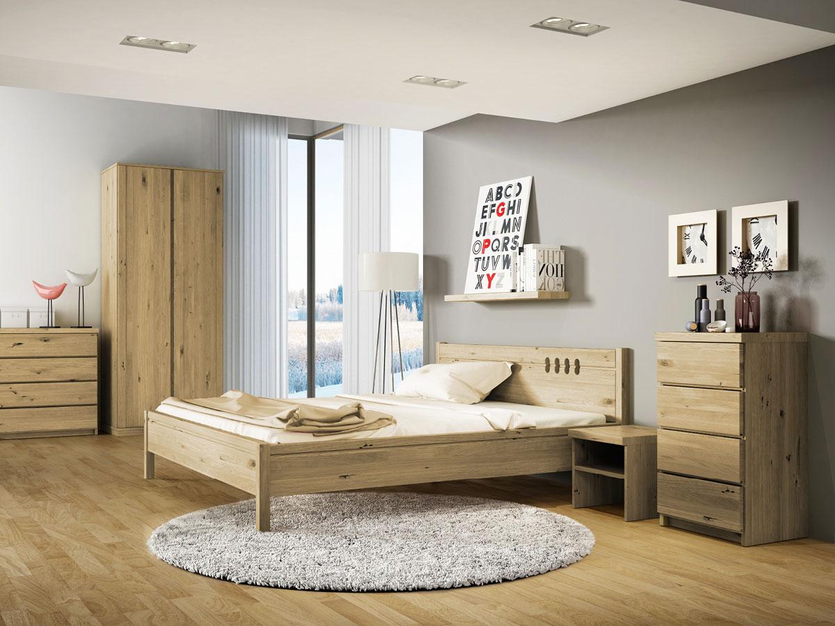 """Schlafzimmer mit Nachttisch in Wildeiche """"Alfred"""""""