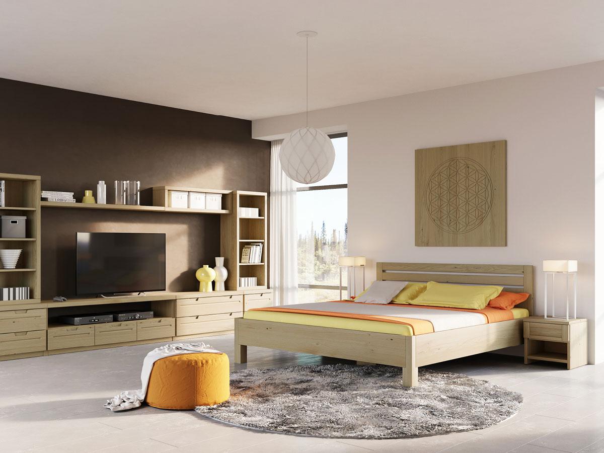 """Schlafzimmer mit Kastanienholzbett """"Axel"""" 180 x 200 cm"""