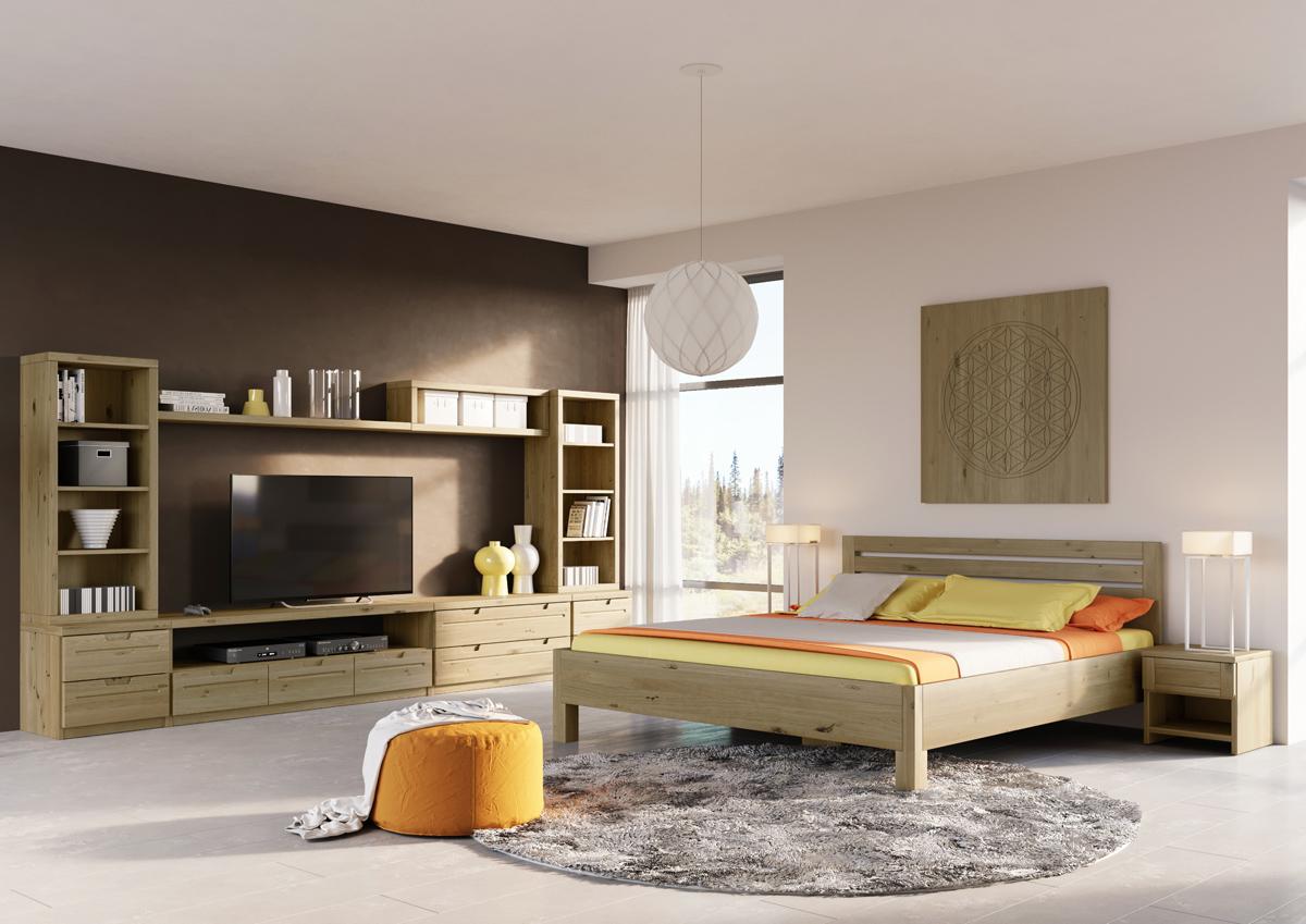 """Schlafzimmer mit Wildeichenholzbett """"Axel"""" 180 x 200 cm"""