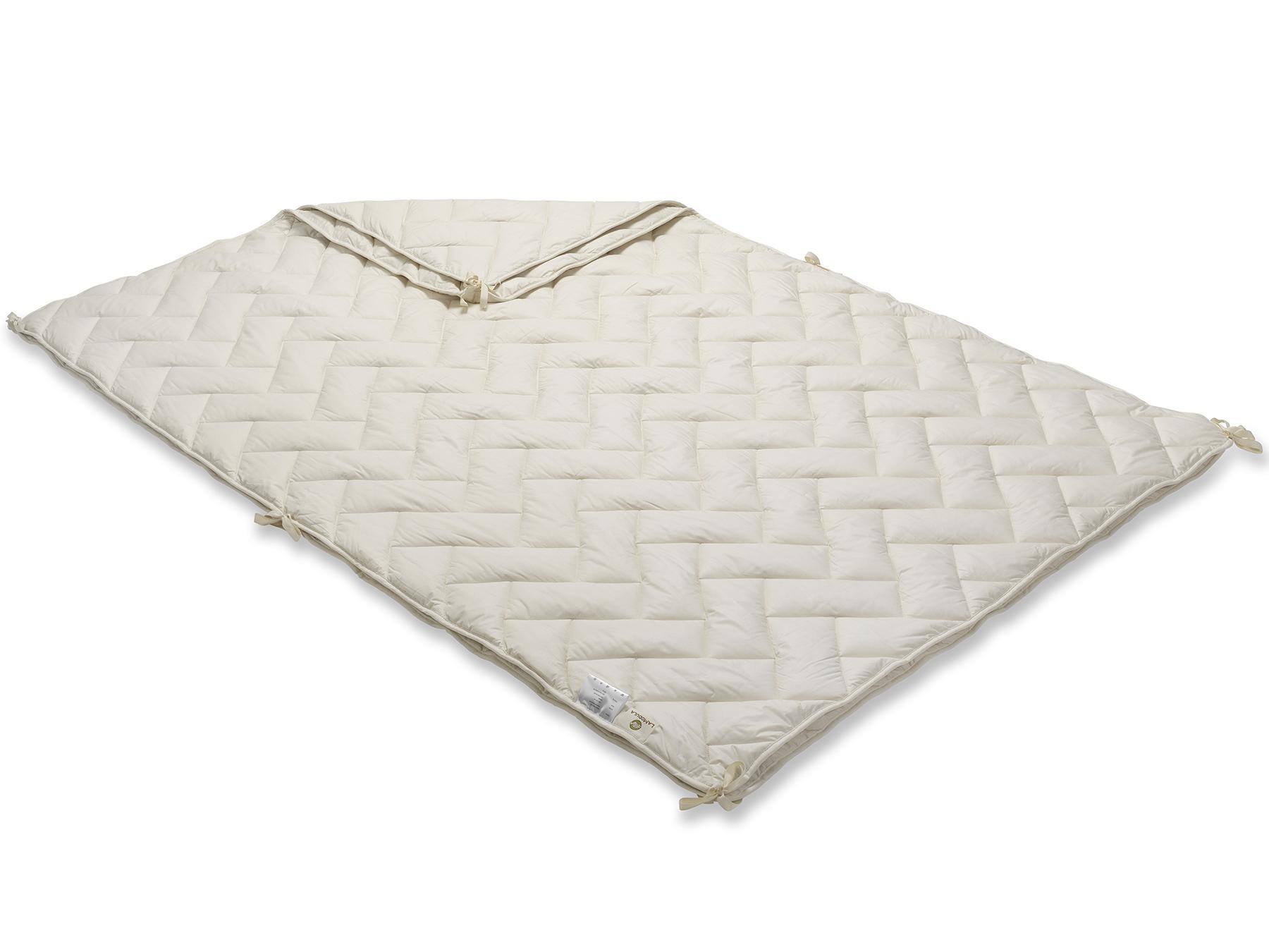 Mit praktischen Bändern werden die beiden Decken einfach miteinander verbunden.