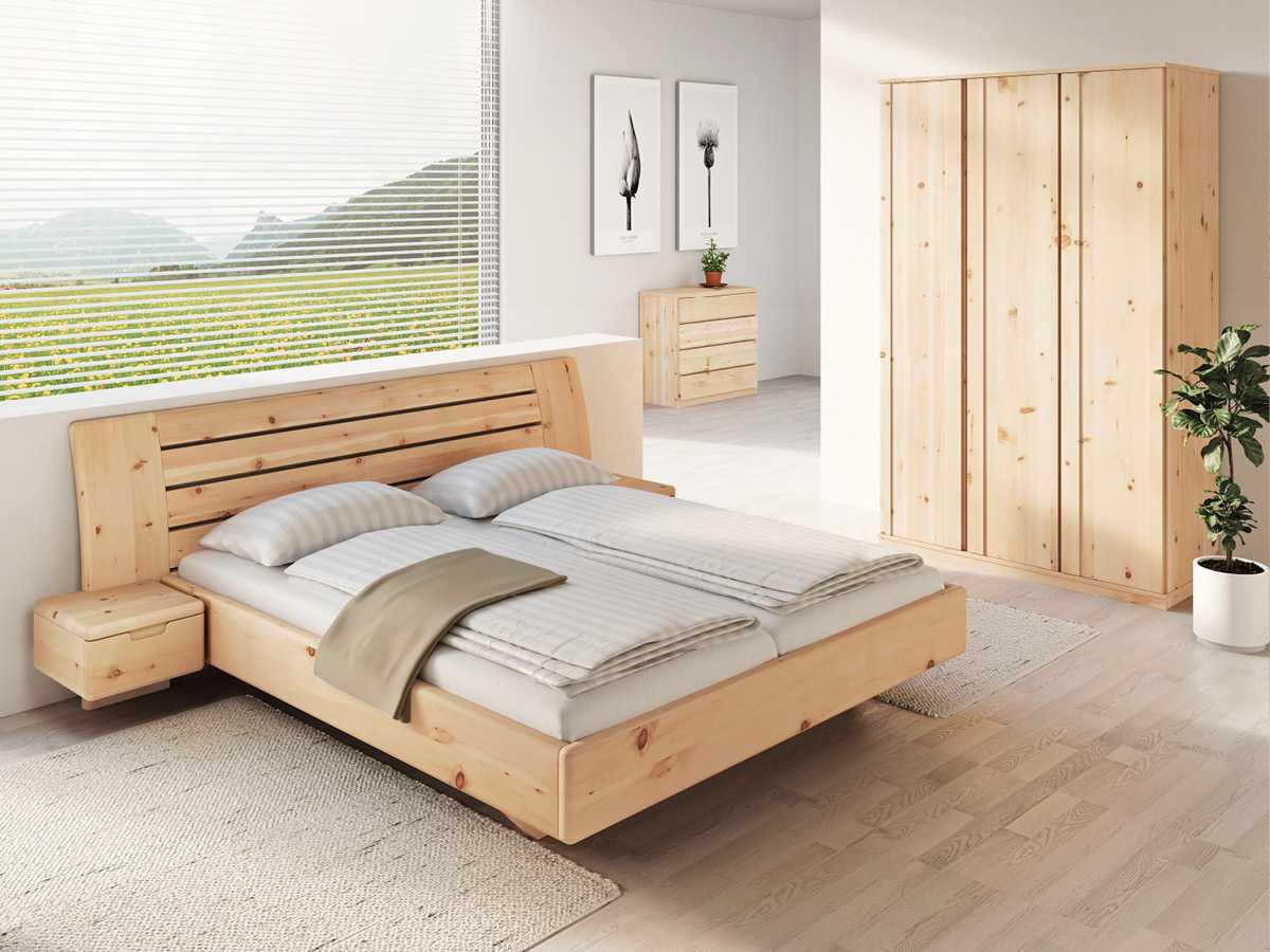 """Schlafzimmer aus Massivholz Zirbe mit Zirbenbett """"Bettina"""" 180 x 200 cm mit schmalen Nachttischen"""