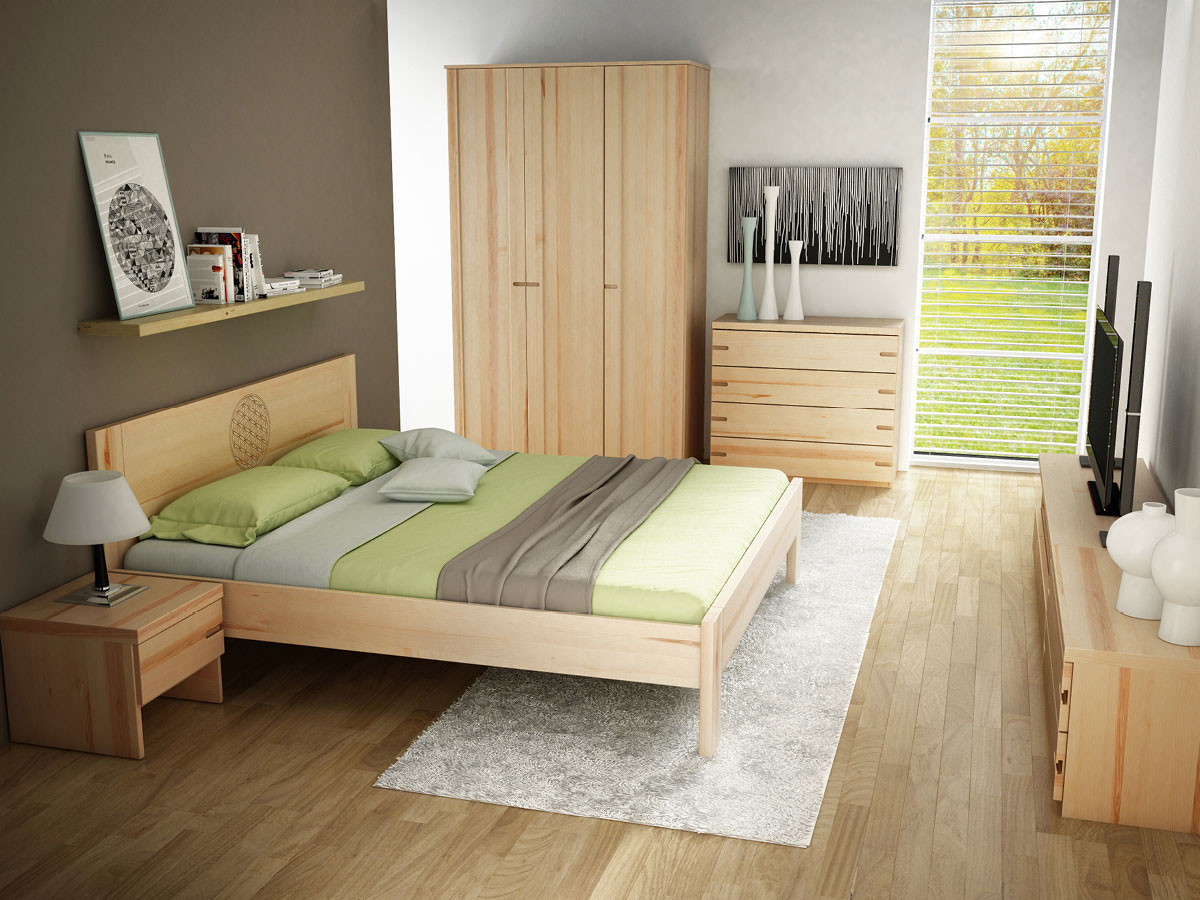 """Schlafzimmer mit Nachtkästchen in Esche """"Stefan"""""""