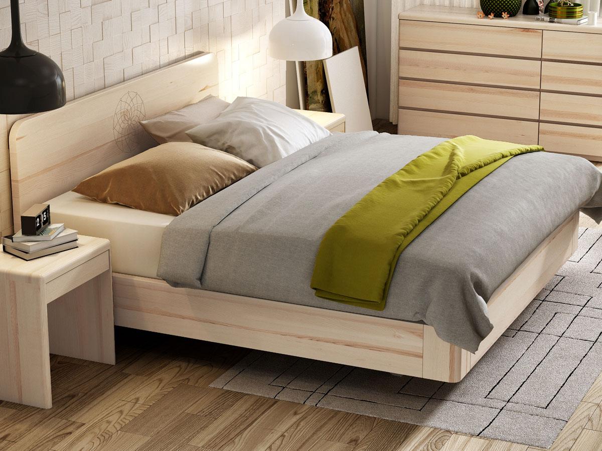 """Schlafzimmer mit Eschenbett """"Clara"""" Boxspring mit Gravur 180 x 200 cm"""