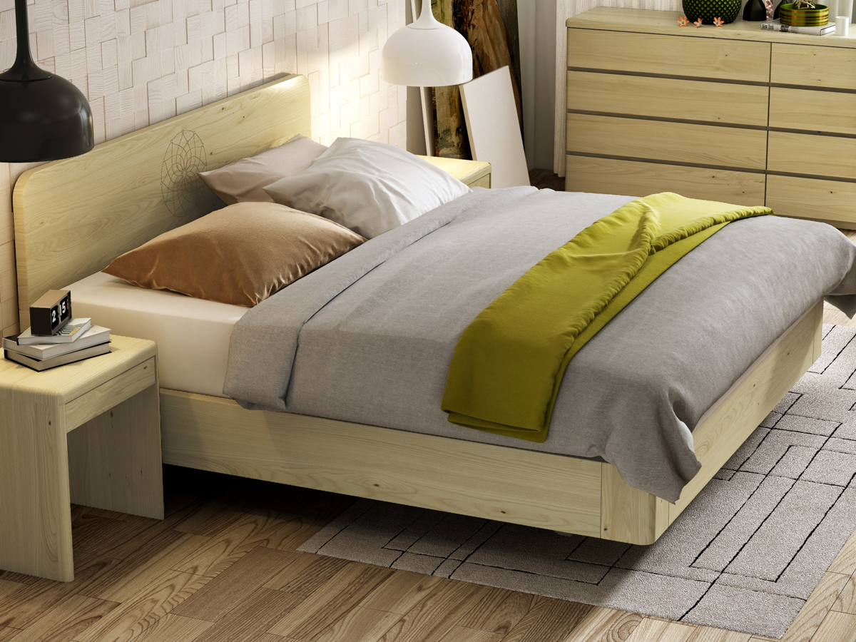 """Schlafzimmer mit Kastanienbett """"Clara"""" Boxspring mit Gravur 180 x 200 cm"""