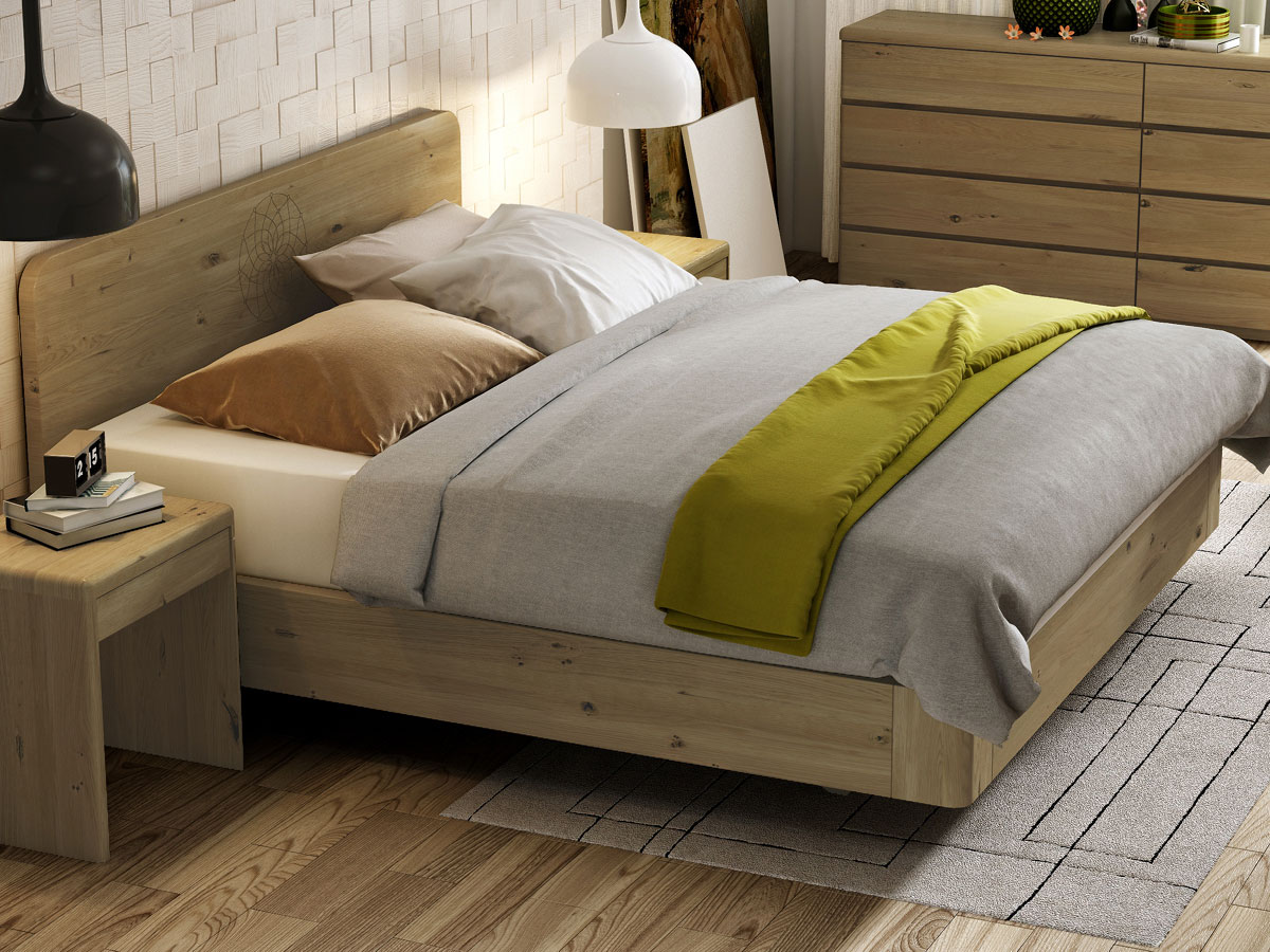 """Schlafzimmer mit Wildeichenbett """"Clara"""" Boxspring mit Gravur 180 x 200 cm"""