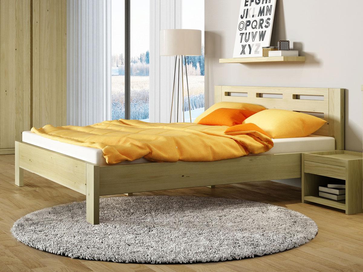 """Schlafzimmer aus Massivholz Kastanie mit Bett """"Claudia"""" 180 x 200 cm"""