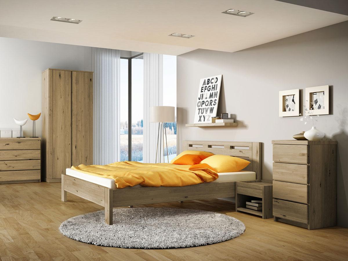 """Schlafzimmer aus Massivholz Wildeiche mit Bett """"Claudia"""" 180 x 200 cm"""
