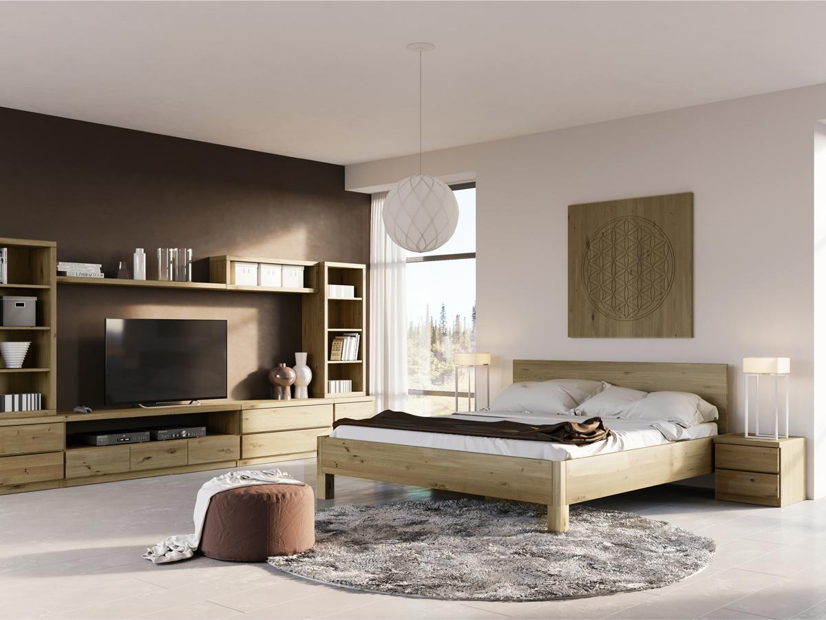 """Schlafzimmer mit Wildeichenbett """"Daniel"""" 180 x 200 cm"""
