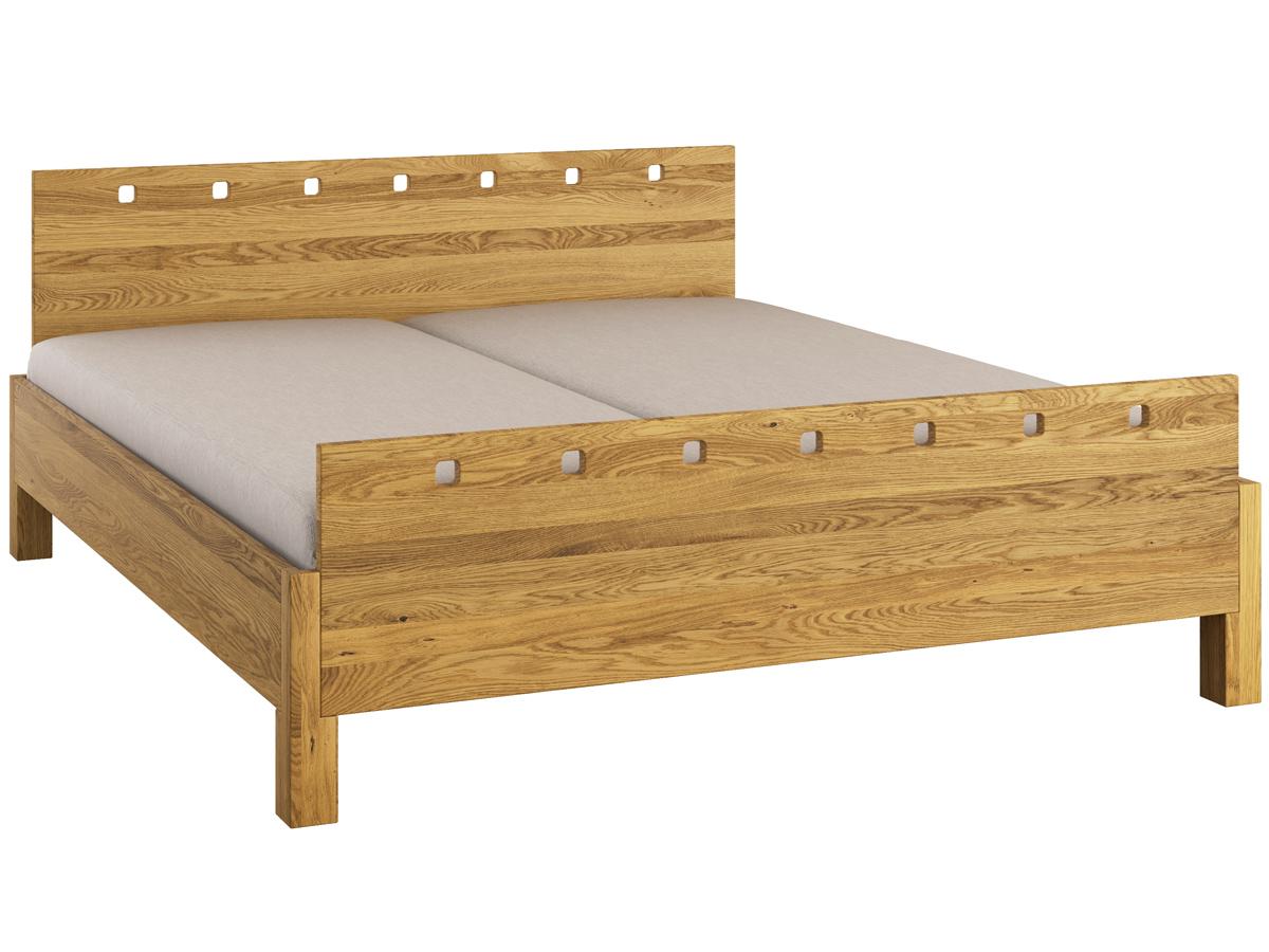"""Bett Eiche """"Karel"""" 180 x 200 cm - mit erhöhtem Fußteil"""