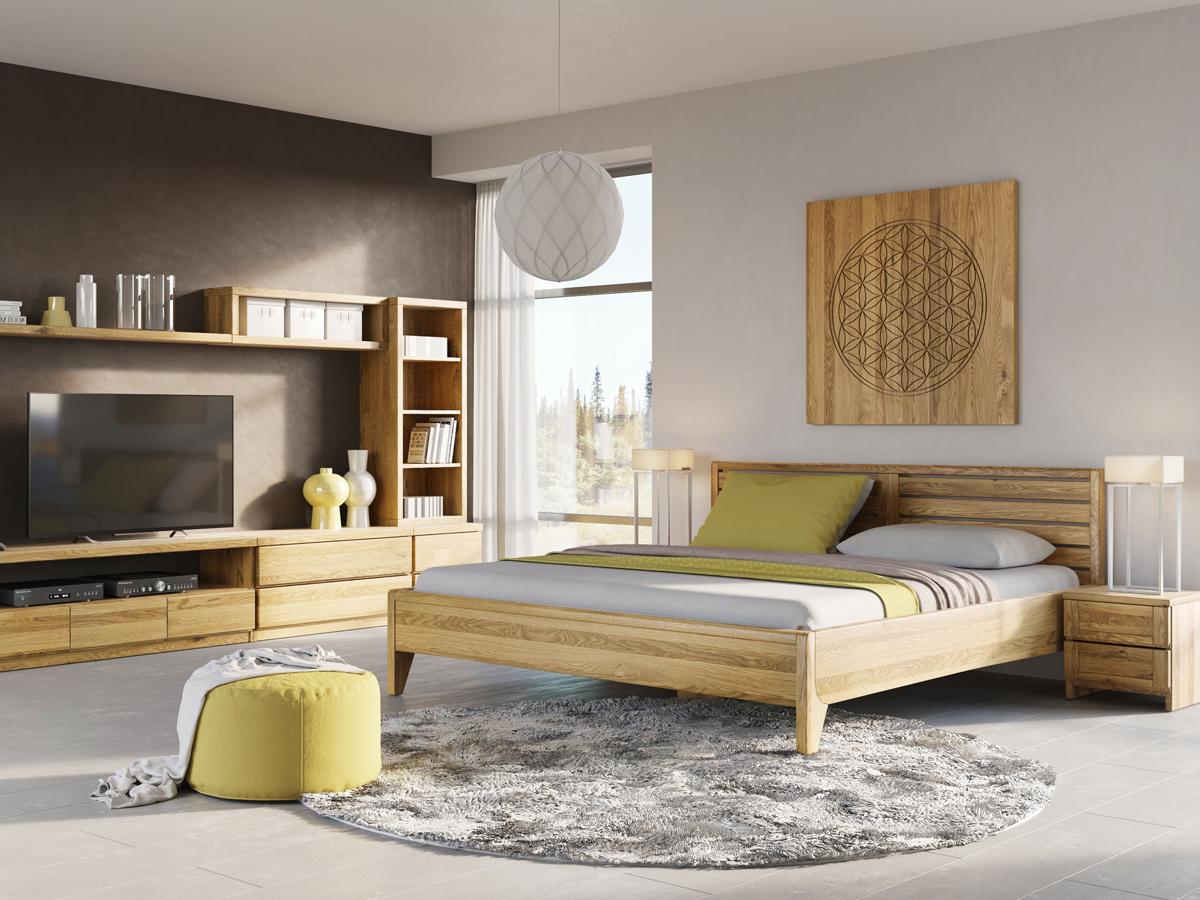 """Eichenschlafzimmer mit Eichenbett """"Nina"""" 180 x 200 cm - Eichenholz, metallfrei"""