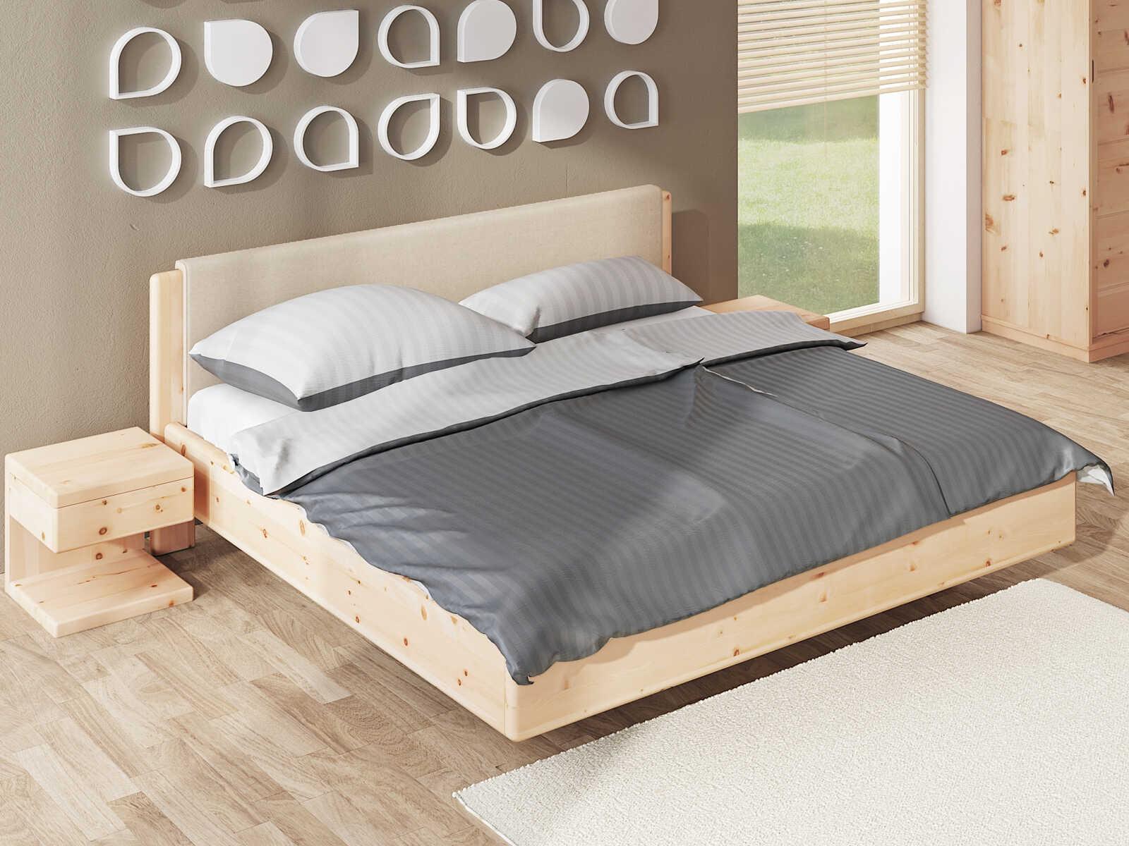 """Schlafzimmer aus Massivholz Zirbe mit Zirbenbett """"Elisabeth"""" 180 x 200 cm mit Polsterkopfteil"""