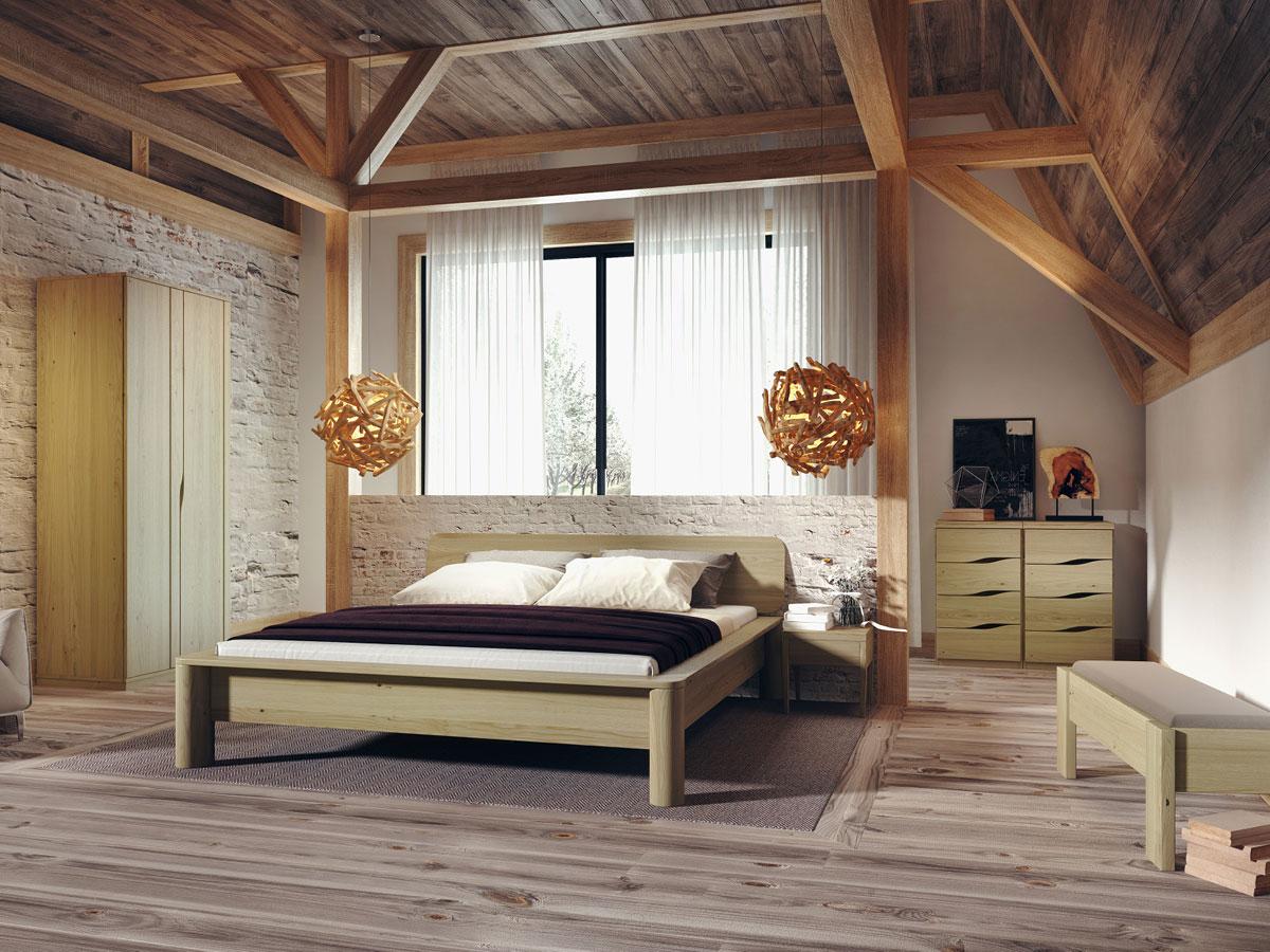 """Schlafzimmer mit Schrank aus Kastanie """"Astrid"""" 2-türig, Höhe 235 cm"""
