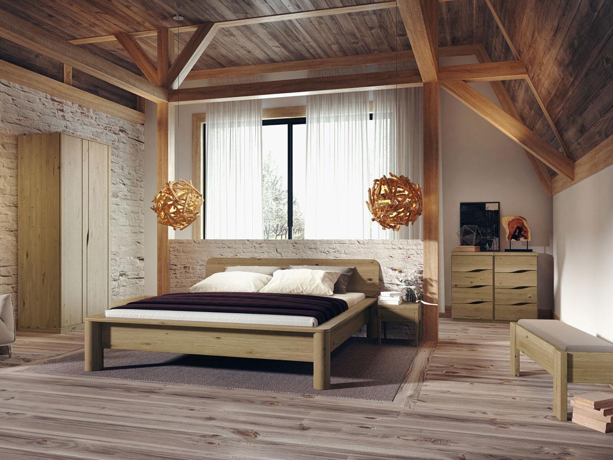 """Schlafzimmer mit Schrank aus Wildeiche """"Astrid"""" 2-türig, Höhe 235 cm"""