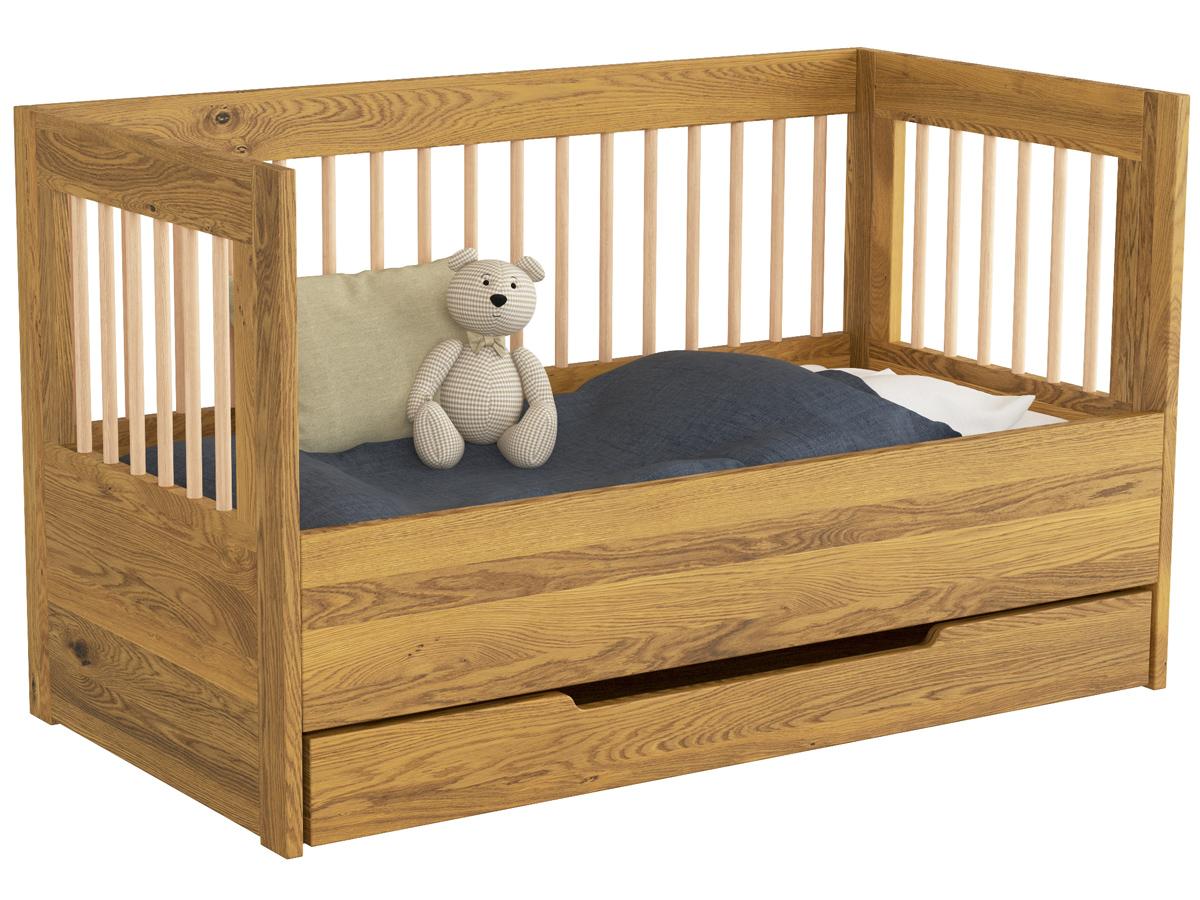 "Kinderbett ""Paula"" 70 x 140 cm, umgebaut mit optionalem Seitenteil, mit Unterbettkommode"