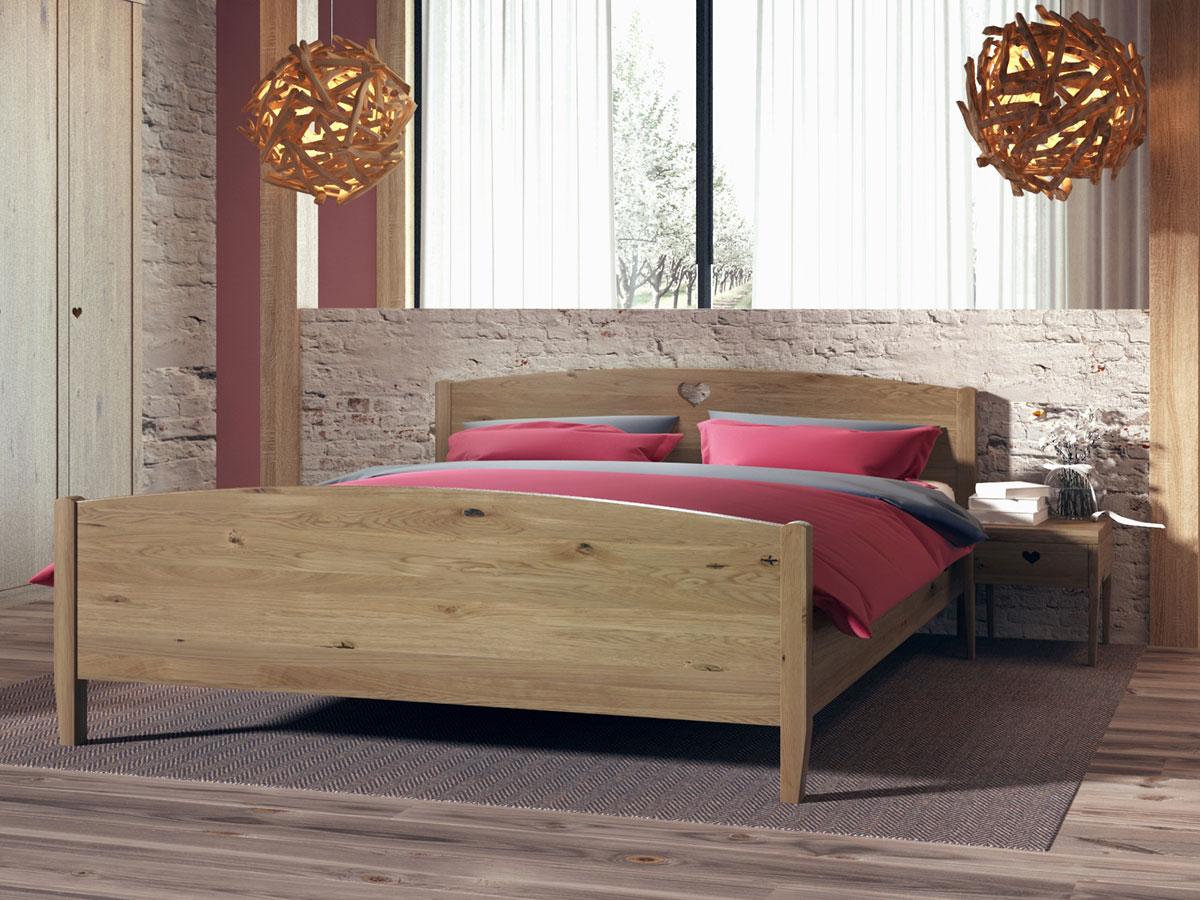 """Schlafzimmer mit Wildeichenholzbett """"Heidi"""" 180 x 200 cm"""