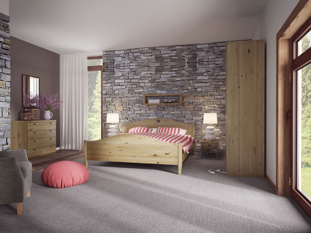 """Schlafzimmer mit Wildeichenholzbett """"Hermine"""""""