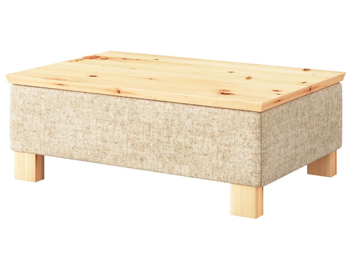 """Hocker-Tisch """"Stellan"""" mit Stoff Loden von """"Steiner 1888"""": Farbe Beige, Tischplatte aus Zirbe, Holzfüße in Zirbe"""