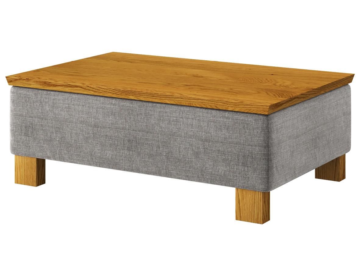 """Hocker-Tisch """"Stellan"""" mit Stoff """"Hochobir"""": Farbe Stein, Tischplatte aus Eiche, Holzfüße in Eiche"""