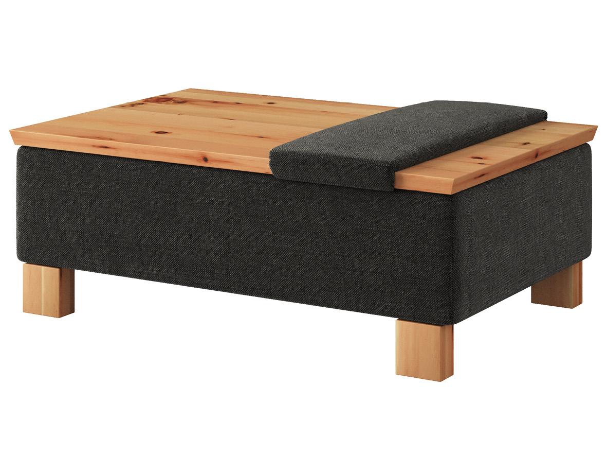 """Hocker-Tisch """"Stellan"""" mit Stoff """"Hochobir"""": Farbe Dunkelgrau mit Sitzauflage, Tischplatte aus Zirbe geölt, Holzfüße in Zirbe geölt"""