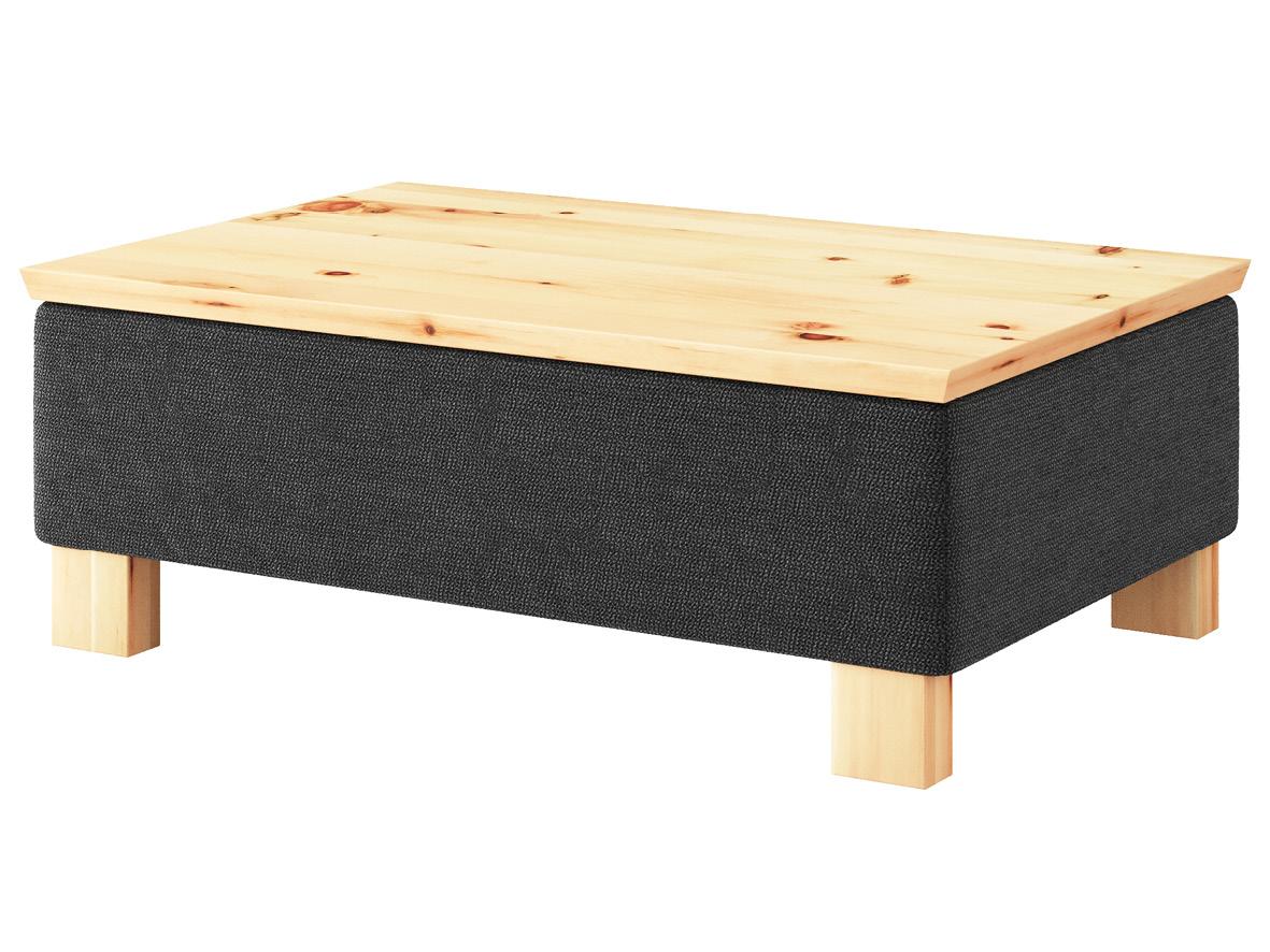 """Hocker-Tisch """"Stellan"""" mit Stoff """"Ankogel"""": Farbe Karbon, Tischplatte aus Zirbe, Holzfüße in Zirbe"""