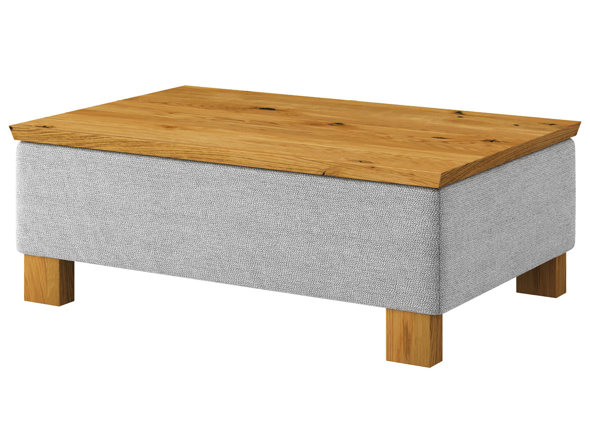 """Hocker-Tisch """"Stellan"""" mit Stoff """"Ankogel"""": Farbe Fels, Tischplatte aus Wildeiche, Holzfüße in Wildeiche"""
