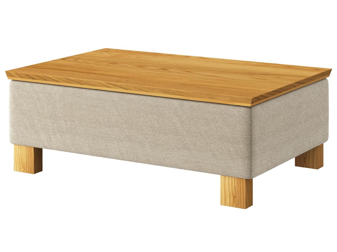 """Hocker-Tisch """"Stellan"""" mit Stoff """"Ankogel"""": Farbe Flanell, Tischplatte aus Kastanie, Holzfüße in Kastanie"""