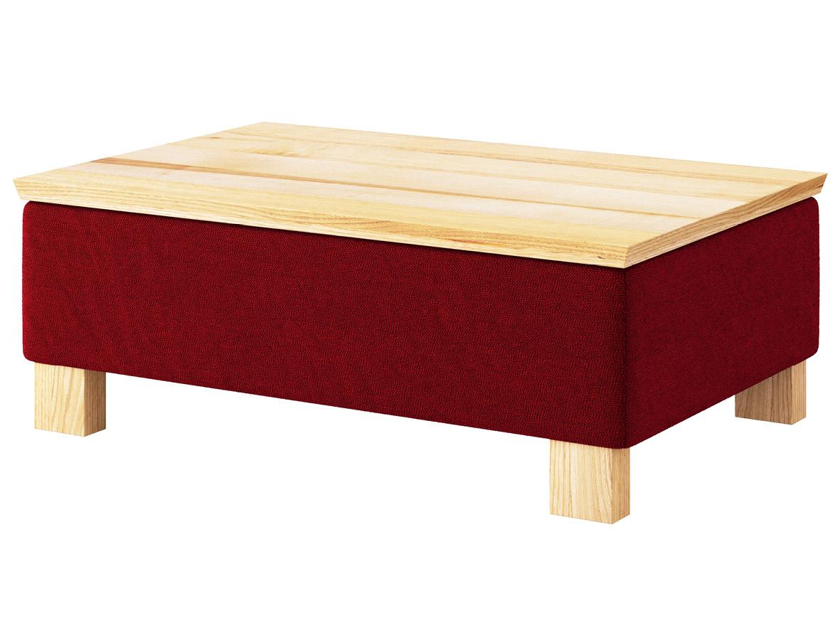 """Hocker-Tisch """"Stellan"""" mit Stoff """"Ankogel"""": Farbe Herz, Tischplatte aus Esche, Holzfüße in Esche"""