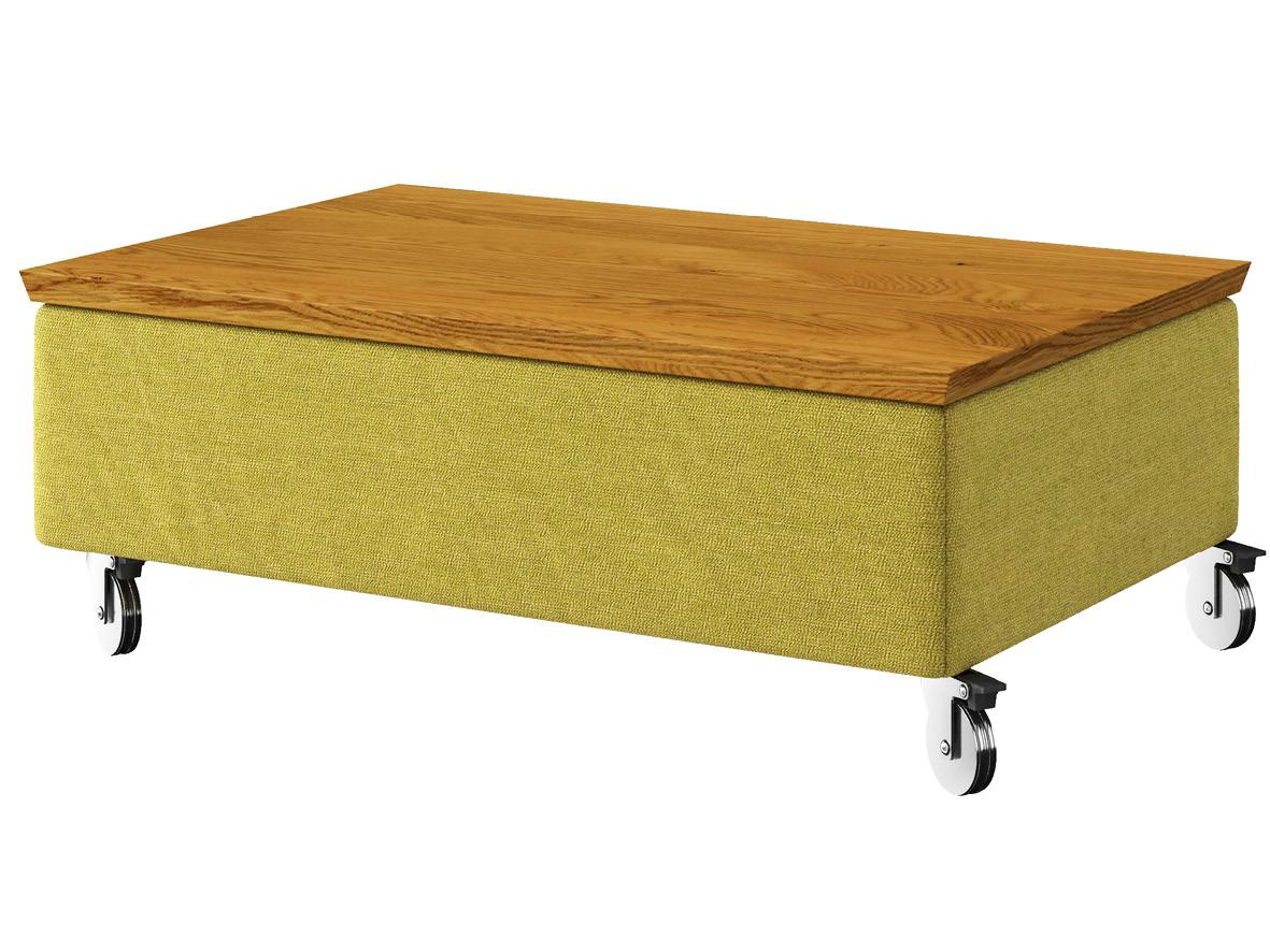 """Hocker-Tisch """"Stellan"""" mit Stoff """"Ankogel"""": Farbe Limette, Tischplatte aus Eiche, auf Metallrollen"""