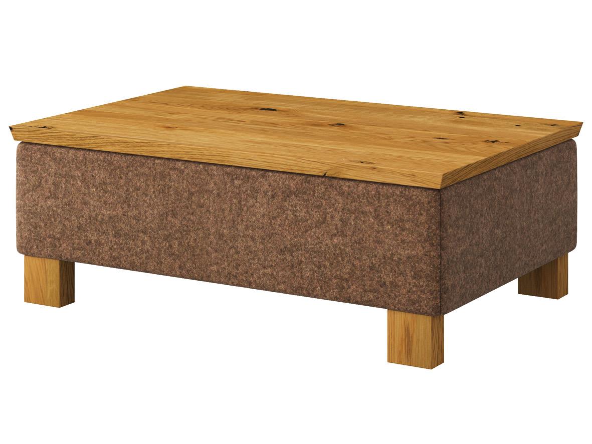 """Hocker-Tisch """"Stellan"""" mit Stoff Loden von """"Steiner 1888"""": Farbe Braun, Tischplatte aus Wildeiche, Holzfüße in Wildeiche"""