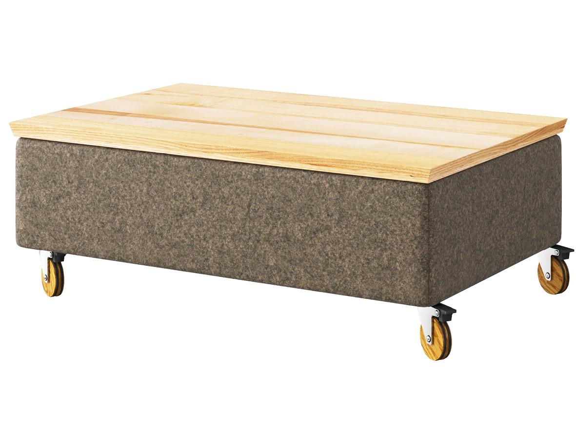 """Hocker-Tisch """"Stellan"""" mit Stoff Loden von """"Steiner 1888"""": Farbe Dunkelgrau, Tischplatte aus Esche, auf Eichenrollen"""