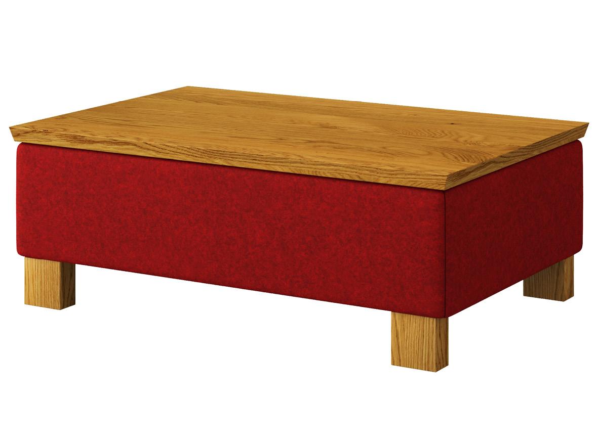 """Hocker-Tisch """"Stellan"""" mit Stoff Loden von """"Steiner 1888"""": Farbe Weinrot, Tischplatte aus Eiche, Holzfüße in Eiche"""