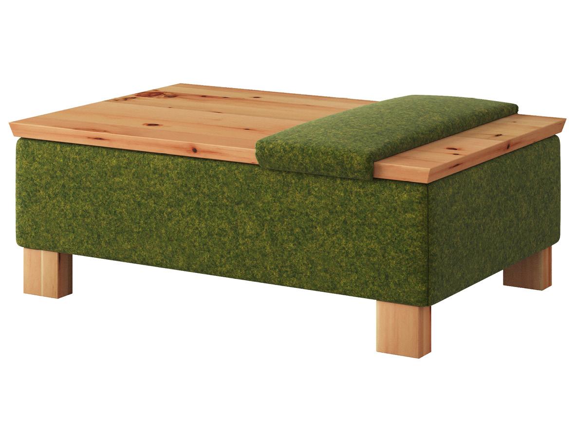 """Hocker-Tisch """"Stellan"""" mit Stoff Loden von """"Steiner 1888"""": Farbe Grün mit Sitzauflage, Tischplatte aus Zirbe geölt, Holzfüße in Zirbe geölt"""