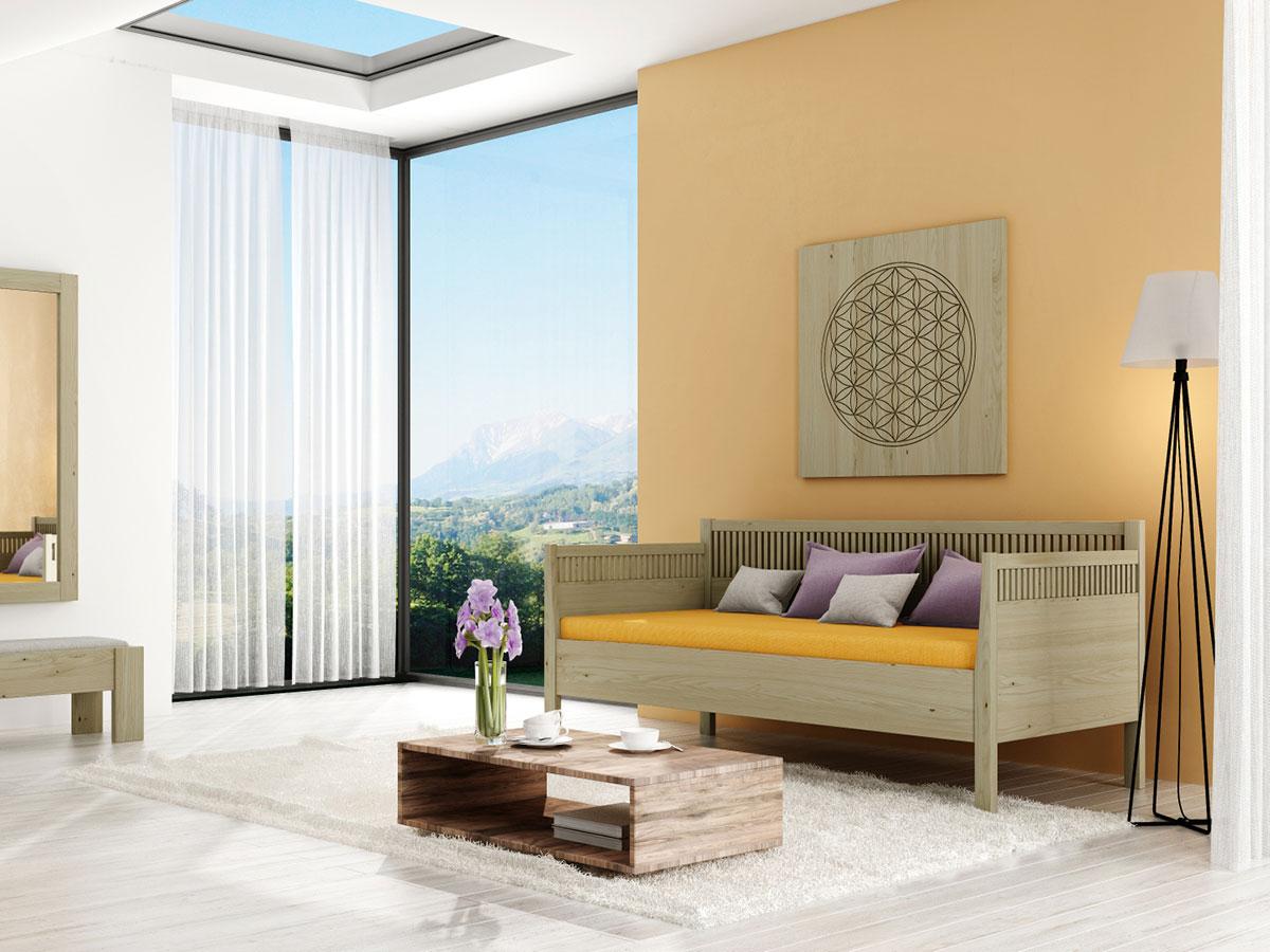 """Zimmer mit Kastanien-Schlafsofa """"Julia"""" 90 x 200 cm"""