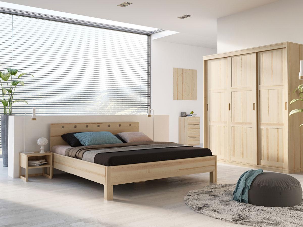 """Schlafzimmer mit Eschenholzbett """"Karel"""" 180 x 200 cm"""