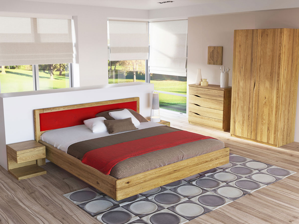 """Schlafzimmer mit Nachtkästchen aus Eiche """"Valentina"""""""