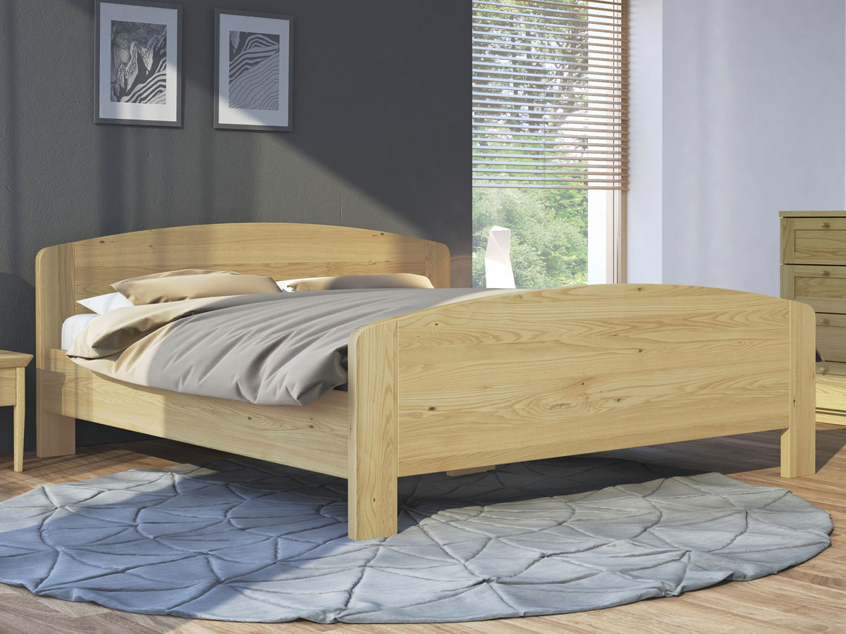 """Schlafzimmer mit Massivholzbett aus Kastanie """"Kerstin"""" 180 x 200 cm"""