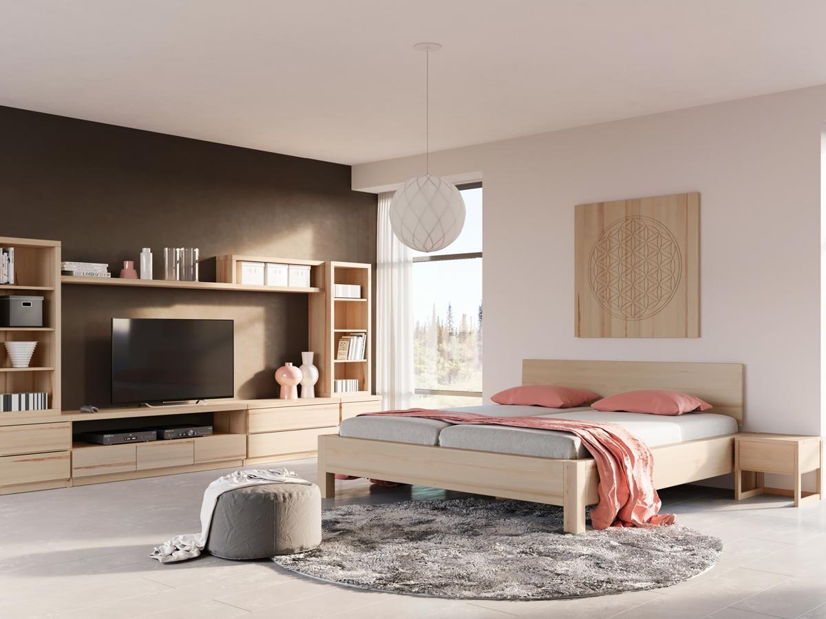 """Schlafzimmer mit zwei Regalen """"Ingrid"""" 50 cm in Esche"""
