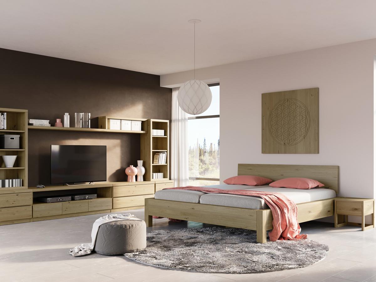 """Schlafzimmer mit zwei Regalen """"Ingrid"""" 50 cm Breite in Wildeiche"""