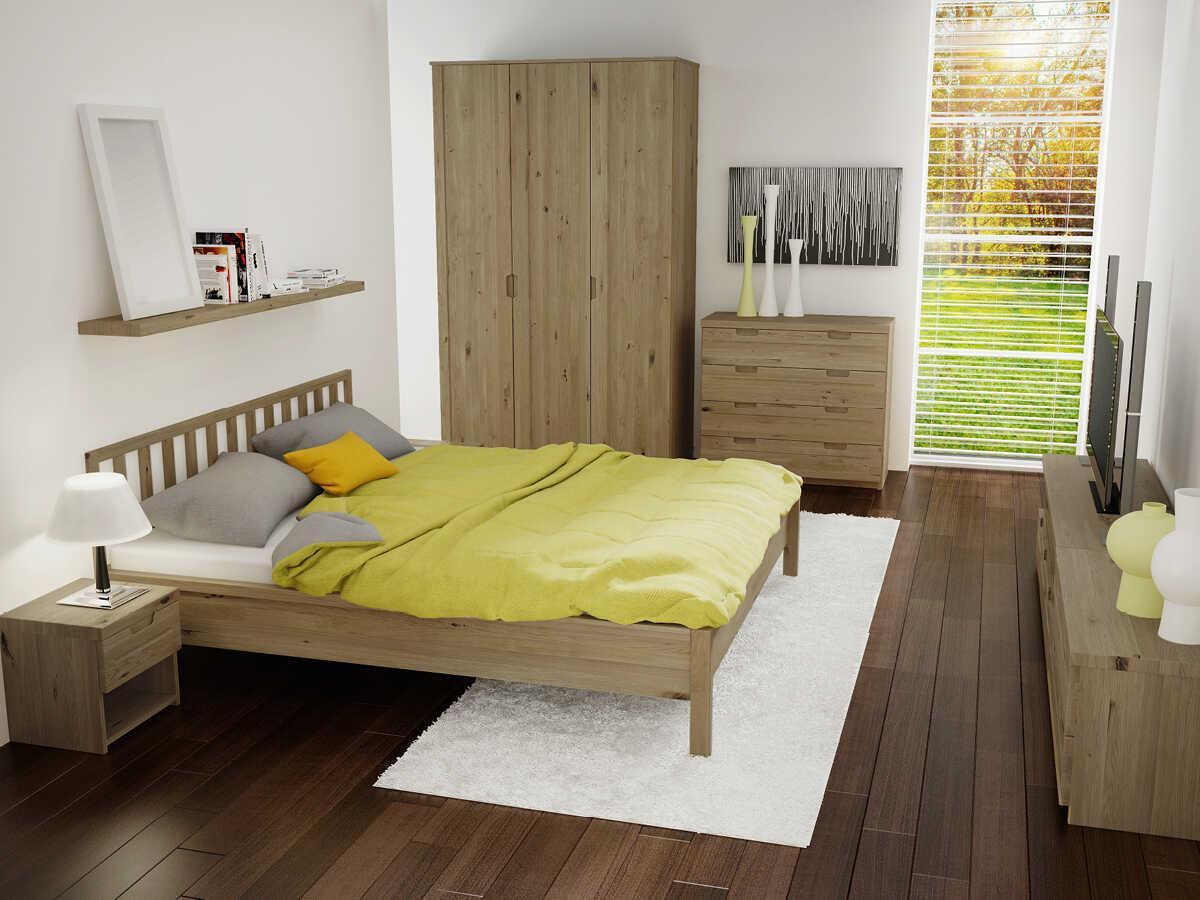 """Schlafzimmer mit Wildeichenholzbett """"Lena"""" 180 x 200 cm"""