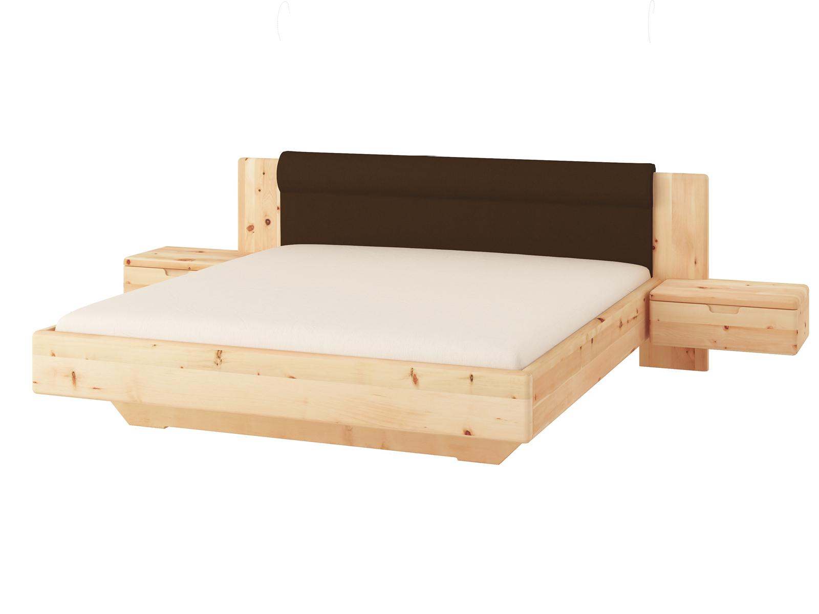 """Zirbenbett """"Leonie"""" 180 x 200 cm mit breiten Nachtkästchen und Polsterkopfteil """"Höpke"""""""
