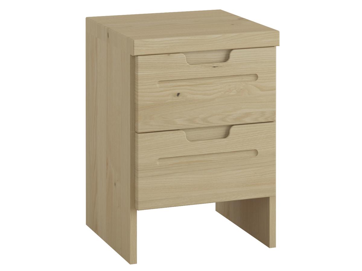 """Nachttisch aus Kastanie """"Lukas"""" mit zwei Schubladen, in Boxspringhöhe"""