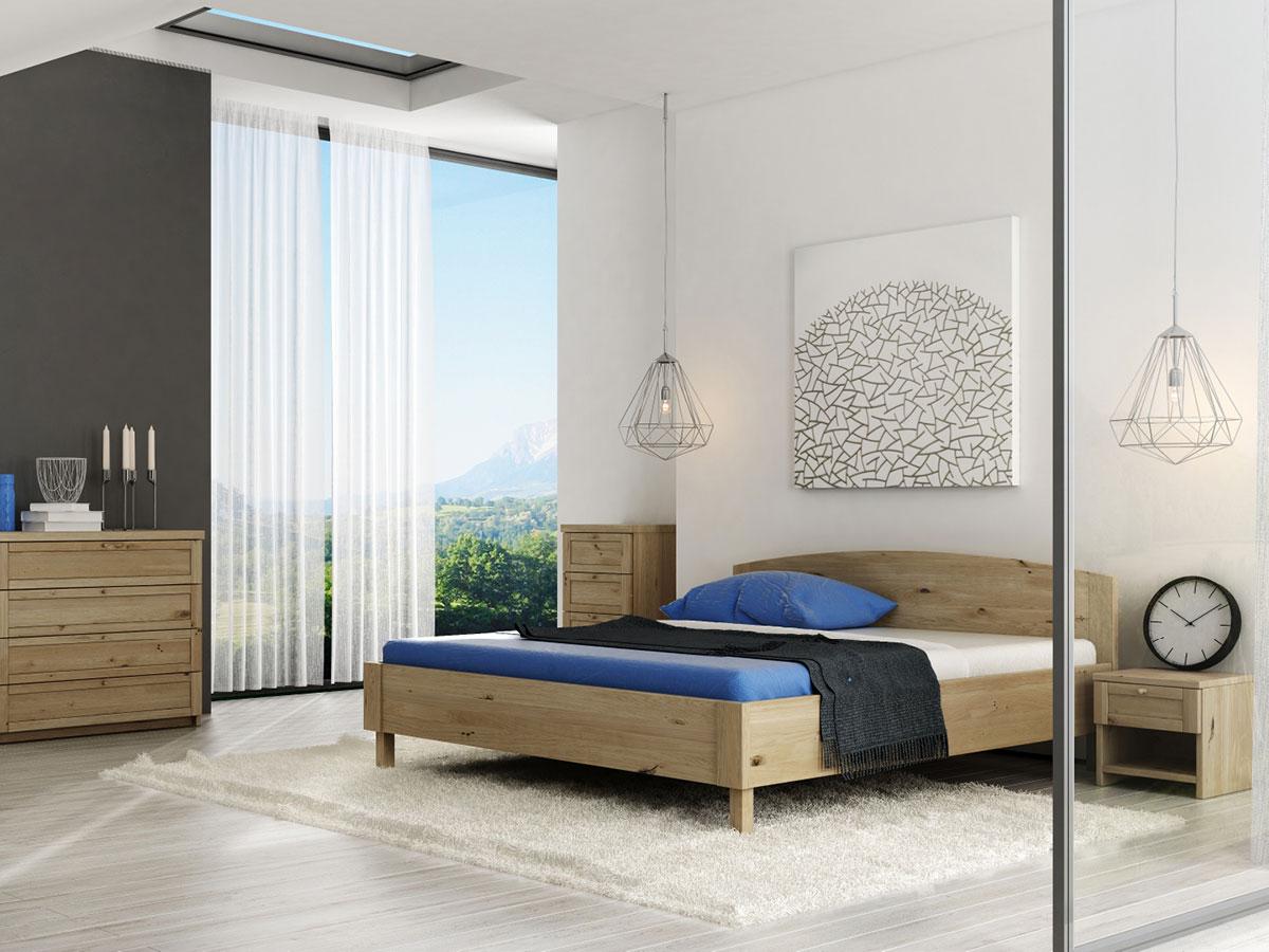 """Schlafzimmer mit Nachttisch in Wildeiche """"Gerti"""" in Standardhöhe"""