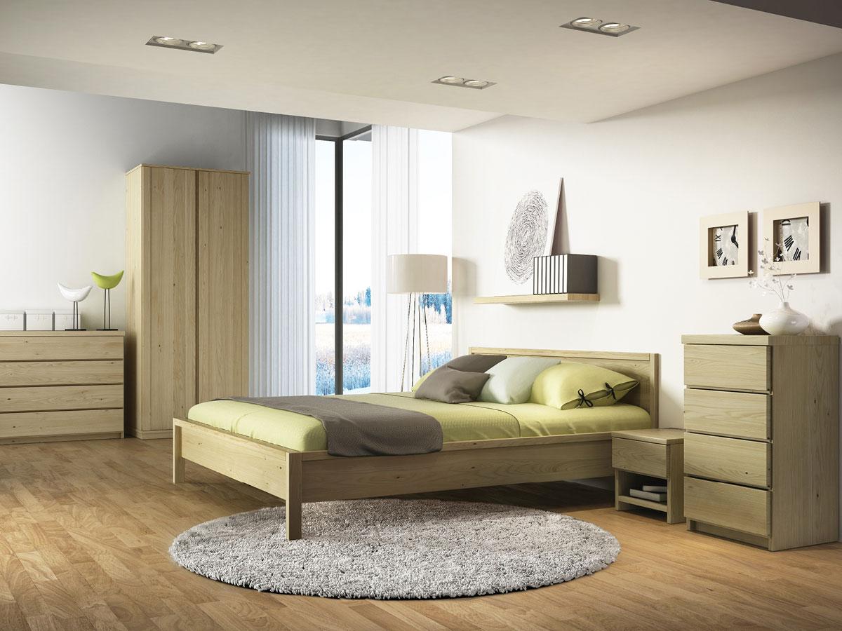"""Schlafzimmer mit Massivholzbett """"Martin"""" aus Kastanie"""