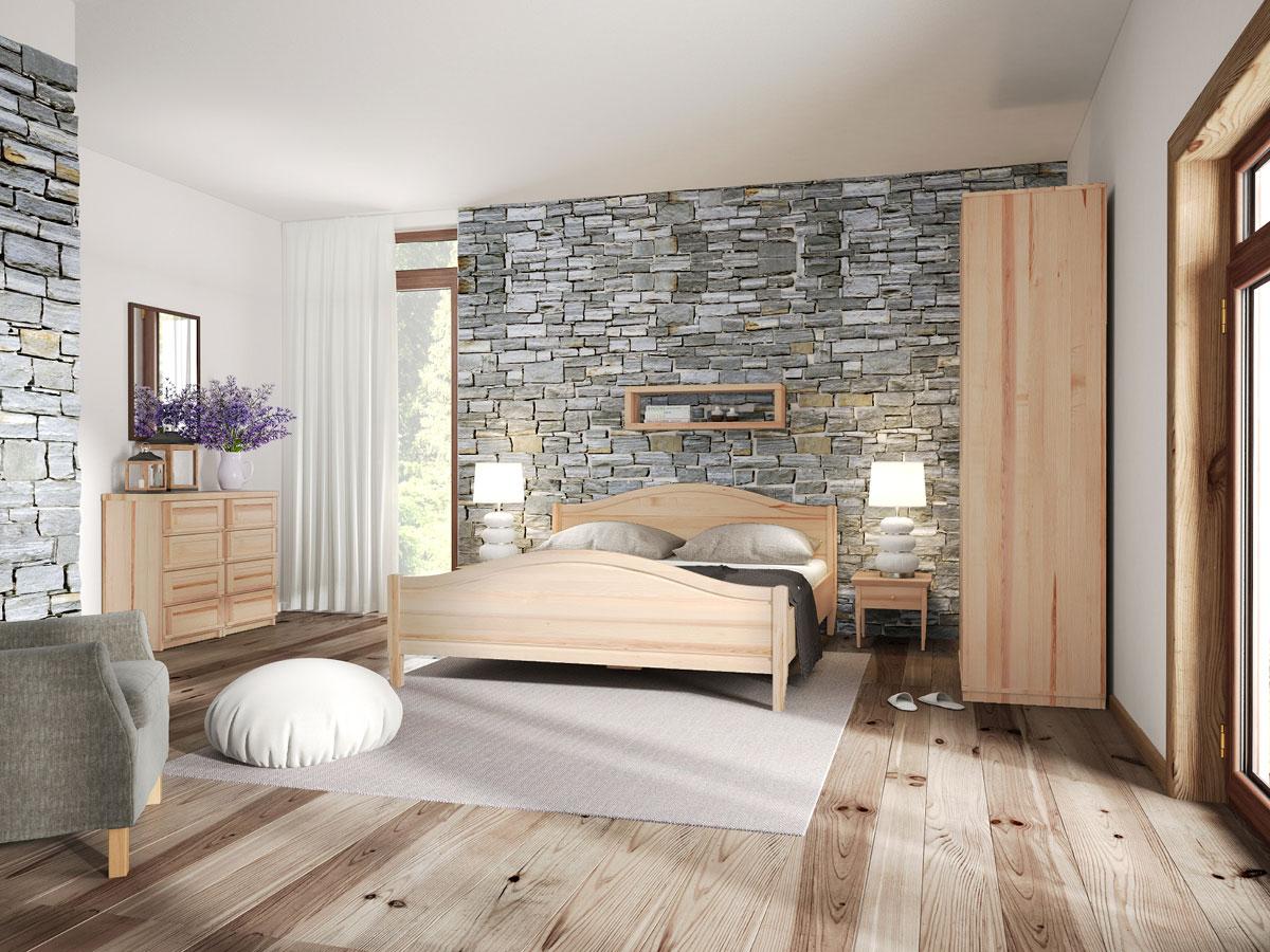 """Schlafzimmer mit Eschenholzbett """"Martina"""" 180 x 200 cm"""