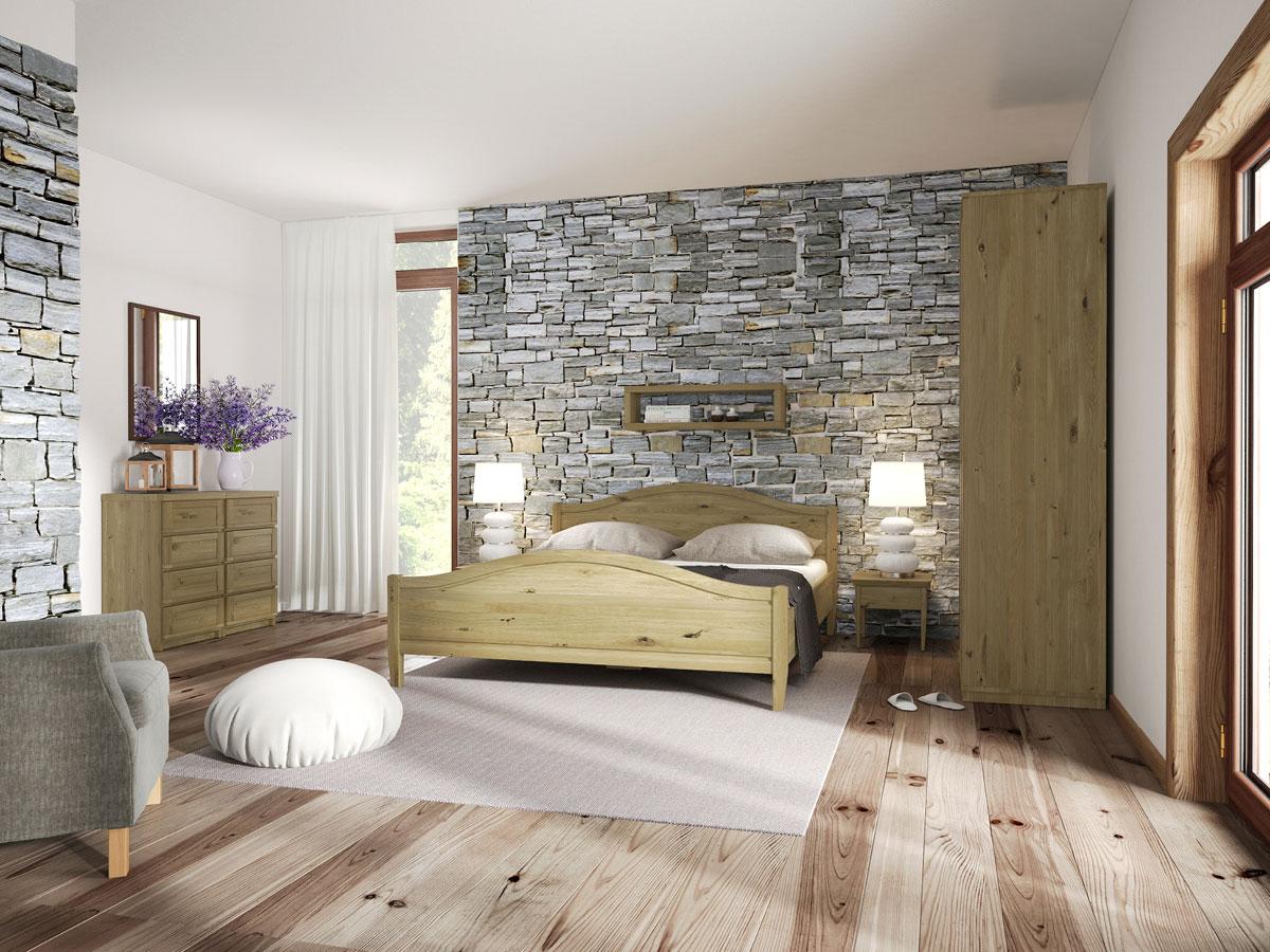 """Schlafzimmer mit Wildeichenholzbett """"Martina"""" 180 x 200 cm"""