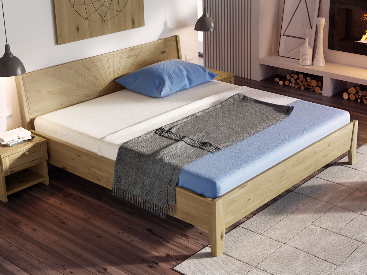 """Schlafzimmer mit Bett Wildeiche """"Matthias"""" 180 x 200 cm"""